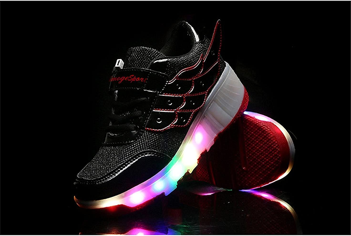 FG21ds21g Unisex Boys Girls LED Light UP Single Wheel Wings Shoes Roller Shoes Roller Sneakers Black-red 31 M EU//13 M US Little Kid
