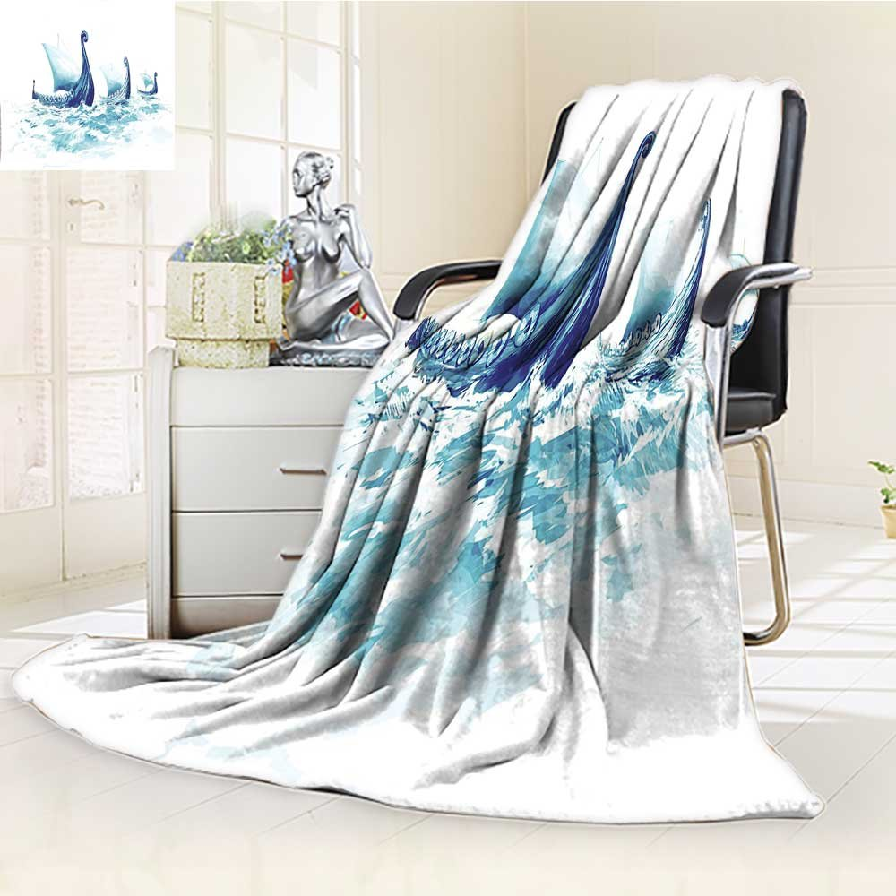 Duplex printed blanket ,Suitable for Fall Winter Summer Spring War Portrait of Viking Drakkars in Rough Nordic Sea Wood Ships of Scandinavian Ancient Warm Elegant Cozy Fuzzy Fluffy Faux/W31.5'' x H47''