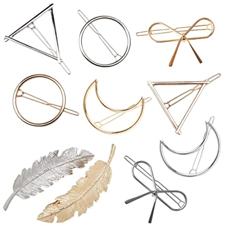 Gold Silvel Minimalism Hair Clips Dainty Feather Hollow Hair Clips Set Feather Hair Pins Geomoetric Barrette Hair Accessories For Women by Rsvleisi