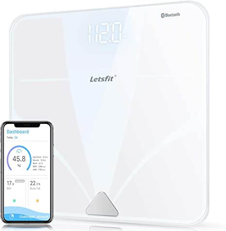 Fat Bone Muscle Bluetooth Body Fat Scale Water Letsfit Smart Wireless Digital Bathroom Weight Scale Body Composition Analyzer 400lb Free APP for Body Weight BMI