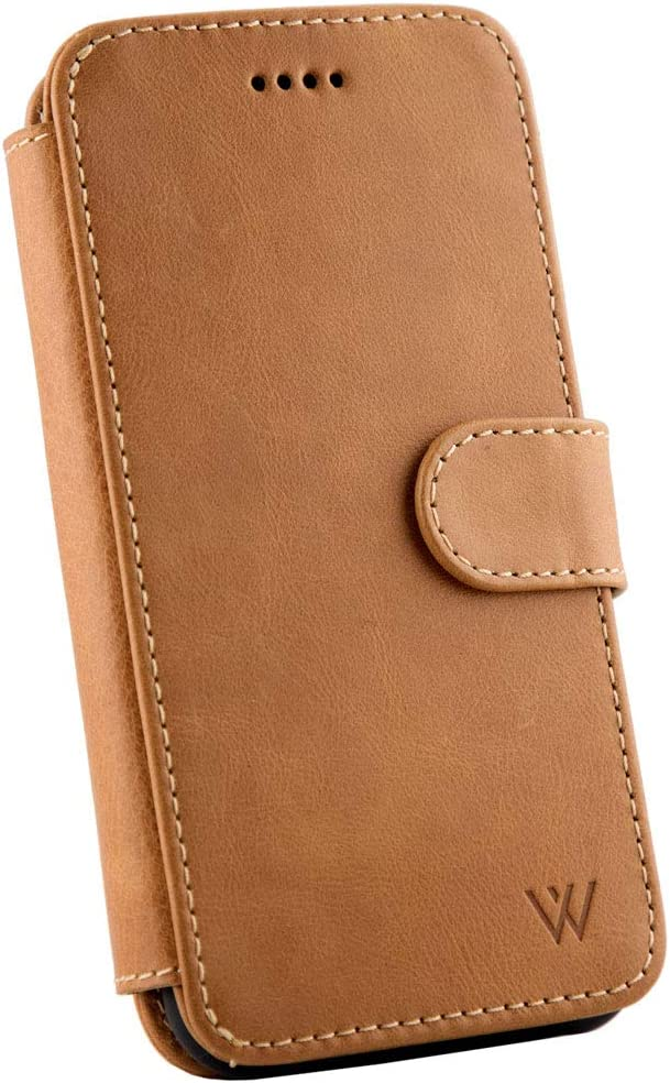 Wilken iPhone 6/7/8/SE Leather Wallet with Detachable Phone Case   Wireless Charging Compatible with iPhone 8   Top Grain Genuine Leather   Tan