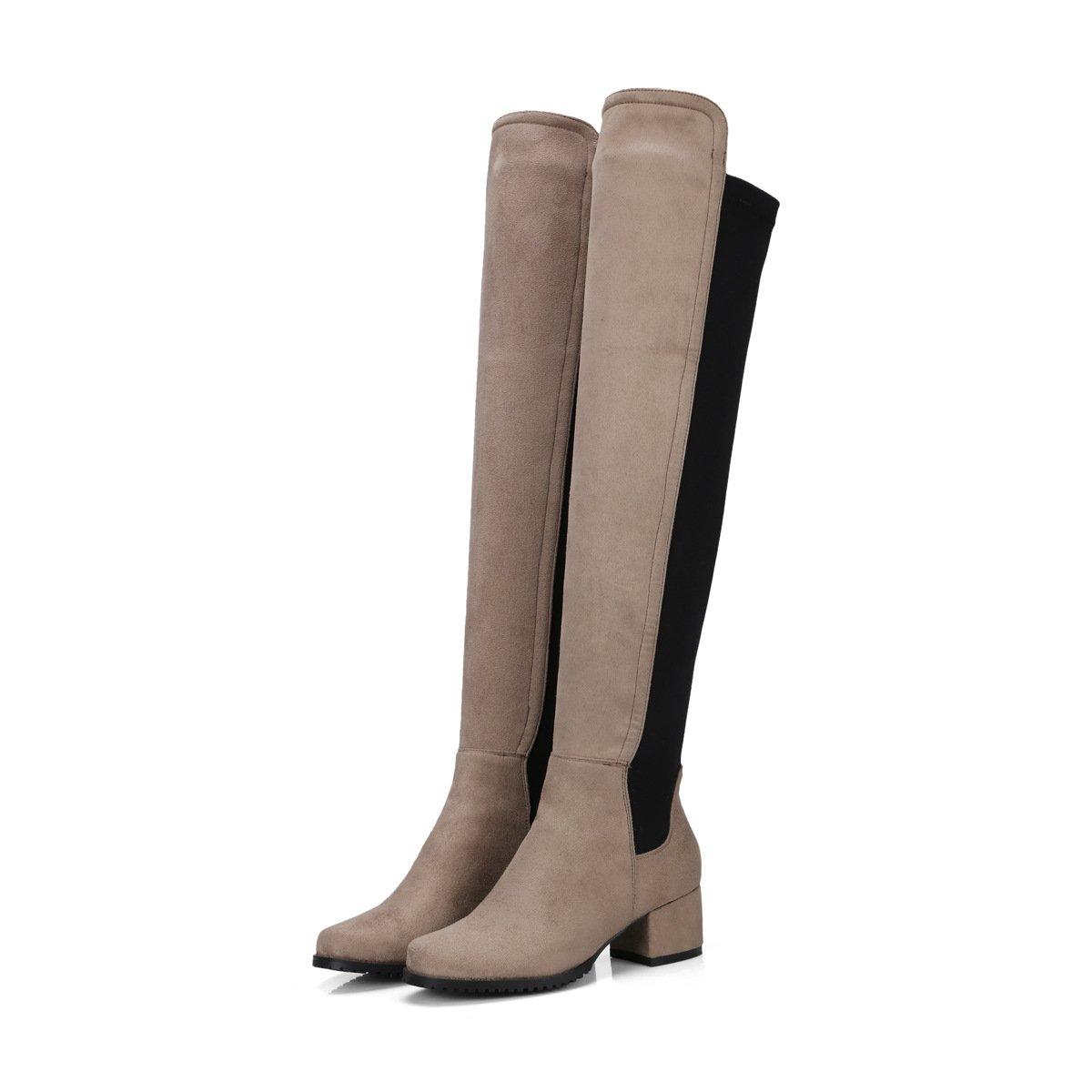 DYF Frauen Schuhe lange Stiefel hohe Faß runden Kopf samt Khaki, Nudeln elastisch, Light Khaki, samt 35 - 164978