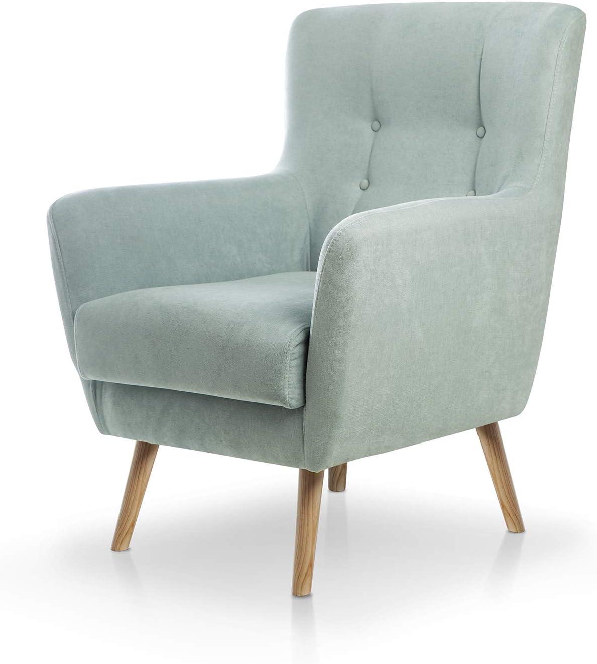Butaca nórdica Izan de una Plaza, sillón tapizado en Tela Antimanchas Color Verde Agua