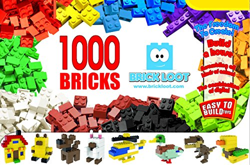 1,000 Bricks - 1000 Toy Building Blocks - Mixed Colors - Compatible - Great Creative Box (Legos Parts)