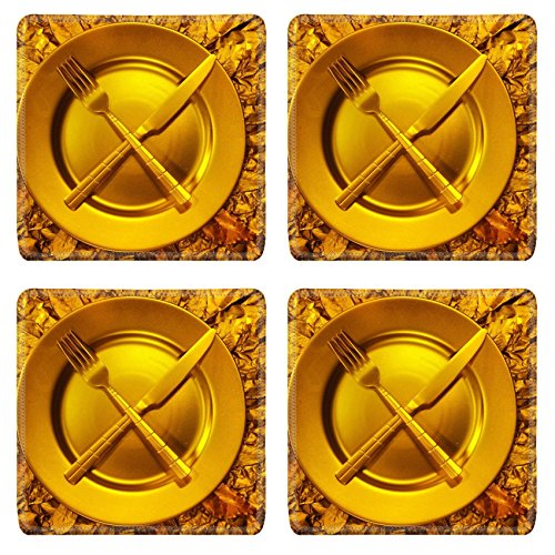 Stll Life (MSD Square Coasters Non-Slip Natural Rubber Desk Coasters design: 35364197 Stll life with plate fork and on gold background)