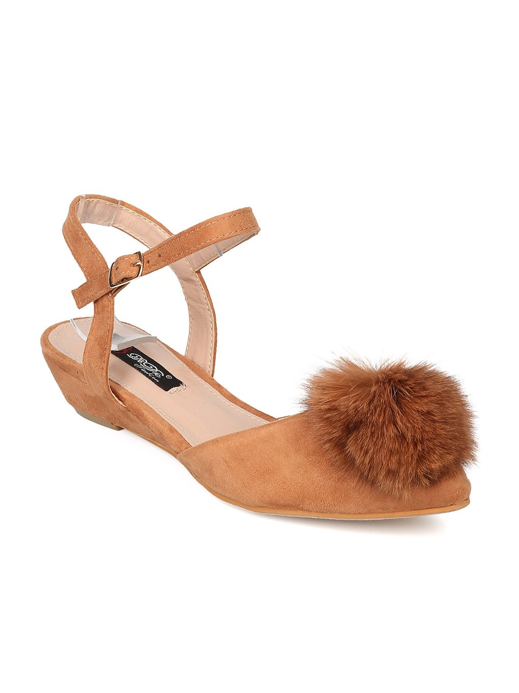 DbDk Women Mixed Media Pom Pom Dorsay Low Wedge Sandal GD39 B01MTGIUMW 8 M US|Camel