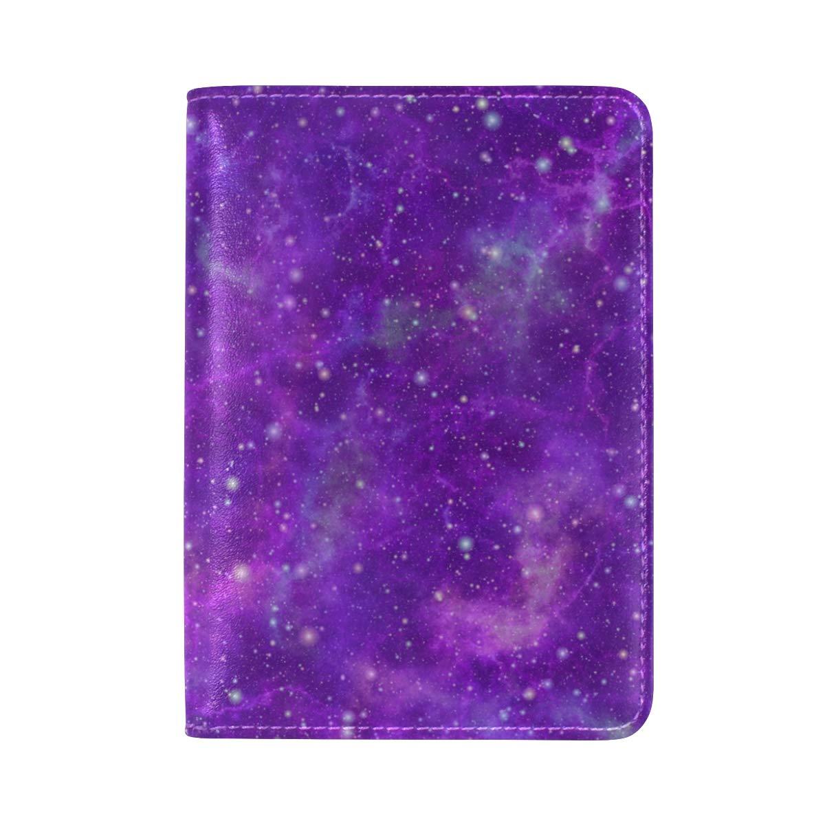 Purple Nebula Starry Sky Night One Pocket Leather Passport Holder Cover Case Protector for Men Women Travel