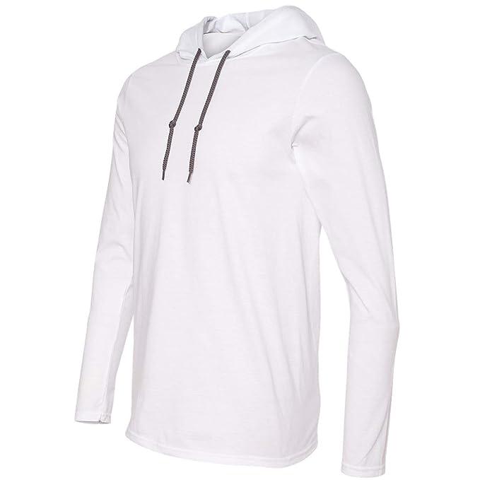 f58f707f0c6 Anvil Gildan White Hoodie Blank Plain Lightweight Long Sleeve Hooded T-Shirt  Men