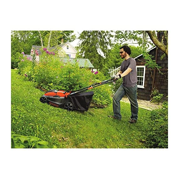"BLACK+DECKER 40V MAX Cordless Lawn Mower, 16-Inch (CM1640) 5 Height Adjust- 6 settings, with a height of cut between 1-1/10"" and 3-1/10"" Includes (2) 40V Max Lithium Batteries Folding handles for easy & convenient storage"