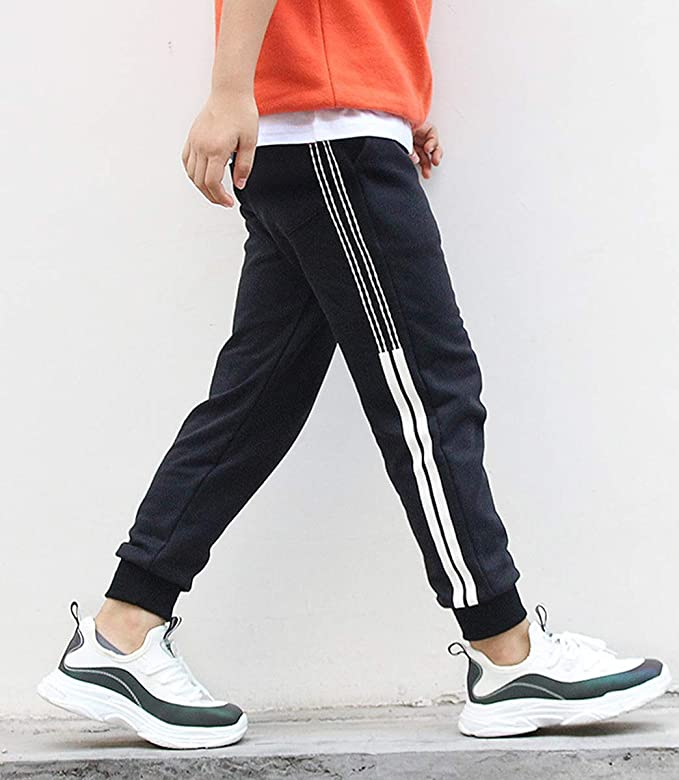 LittleXin OneBoy Kids Boys Casual Sports Sweatpants Elastic Waist Pants Age 5-13 Years