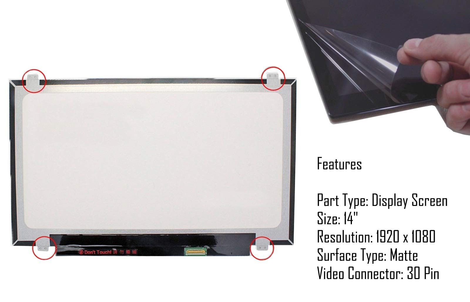 AJParts New ChiMei N156BGE-E41 Rev.C1 EDP Laptop Screen 15.6 LED BACKLIT HD Compatible