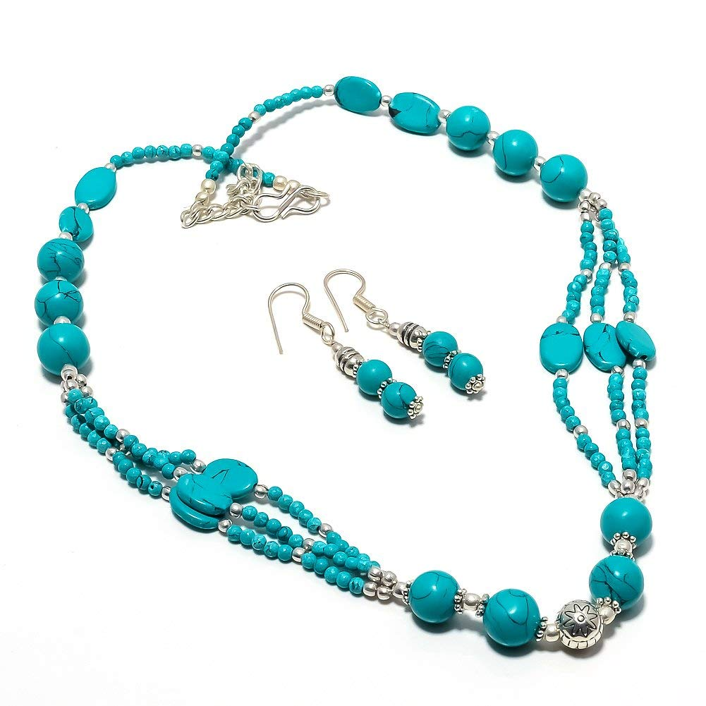 Ethnic Collection Handmade Jewellry Blue Turquoise Beads Silver Plated 29 Grams Necklace 17-18