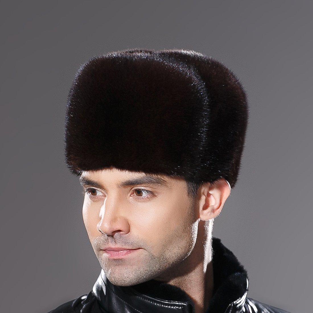 URSFUR Russian Fur Ushanka Hat Mens Winter Real Min Fur Trapper Cap Brown L by URSFUR (Image #2)