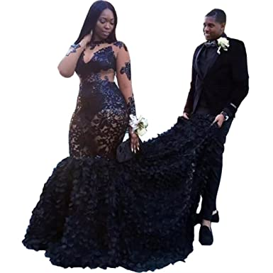 c761553a17d Chady Sexy Plus Size Prom Dresses 2019 Lace Appliques Illusion Sheer Long  Sleeves Black Mermaid Evening Party Gowns at Amazon Women's Clothing store: