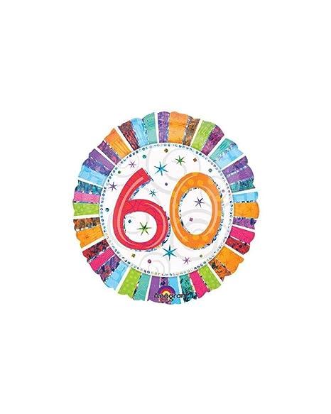 Globo cumpleaños 60 años Radial Mylar 45 cm * 24250: Amazon ...