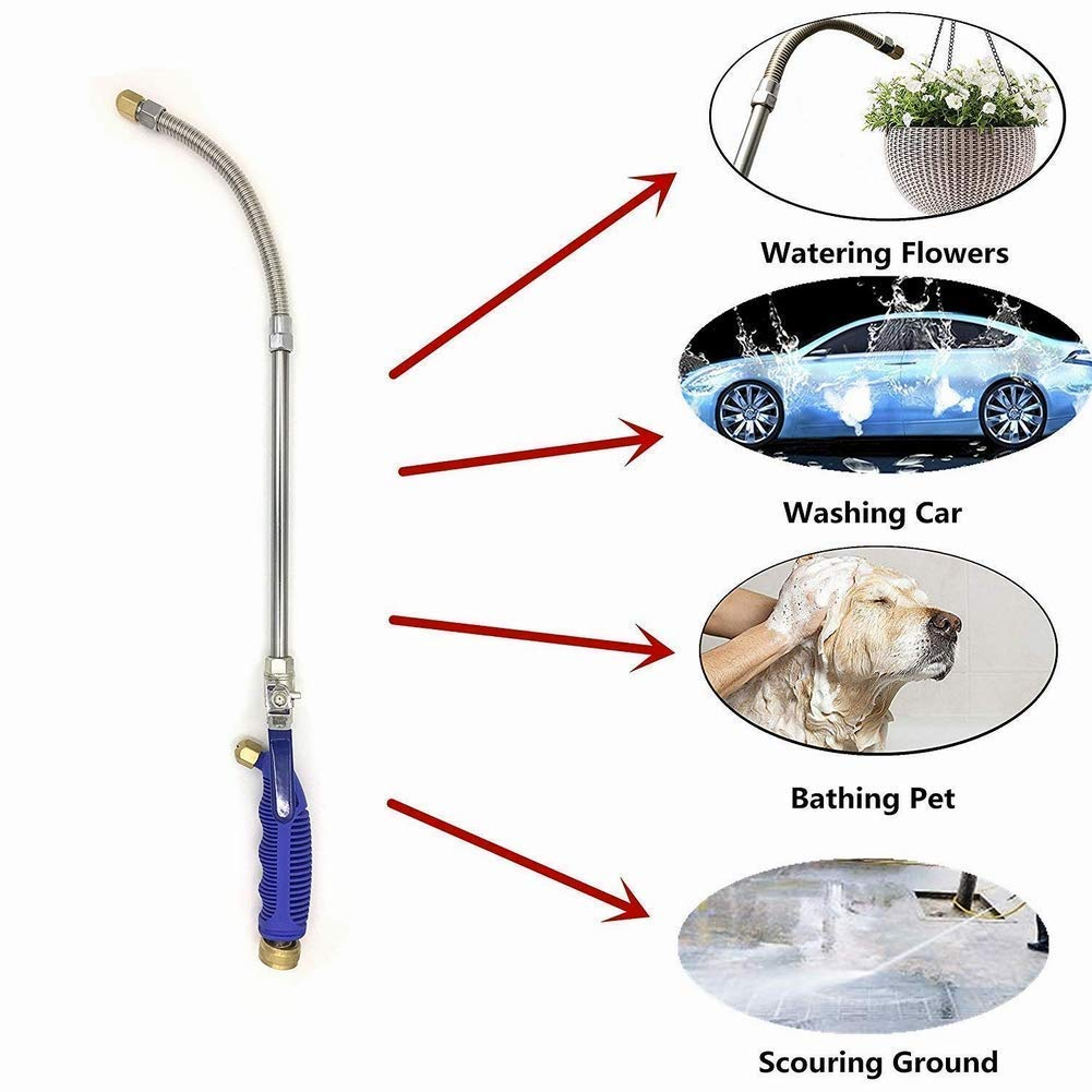 Hydro Jet High Pressure Glass Cleaner - 27'' Extendable Power Washer Wand, Water Hose Attachment Nozzle, Flexible Auto Washer, Snow Foam Cannon, Watering Sprayer, Car Wash, Window Washing, 2 Tips by Buyplus (Image #4)