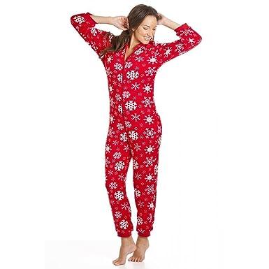 best website 54c6a 0725a Camille - Damen Schlafanzug-Einteiler mit Kapuze - Schneeflocken-Muster -  Rot - Größen 36-50