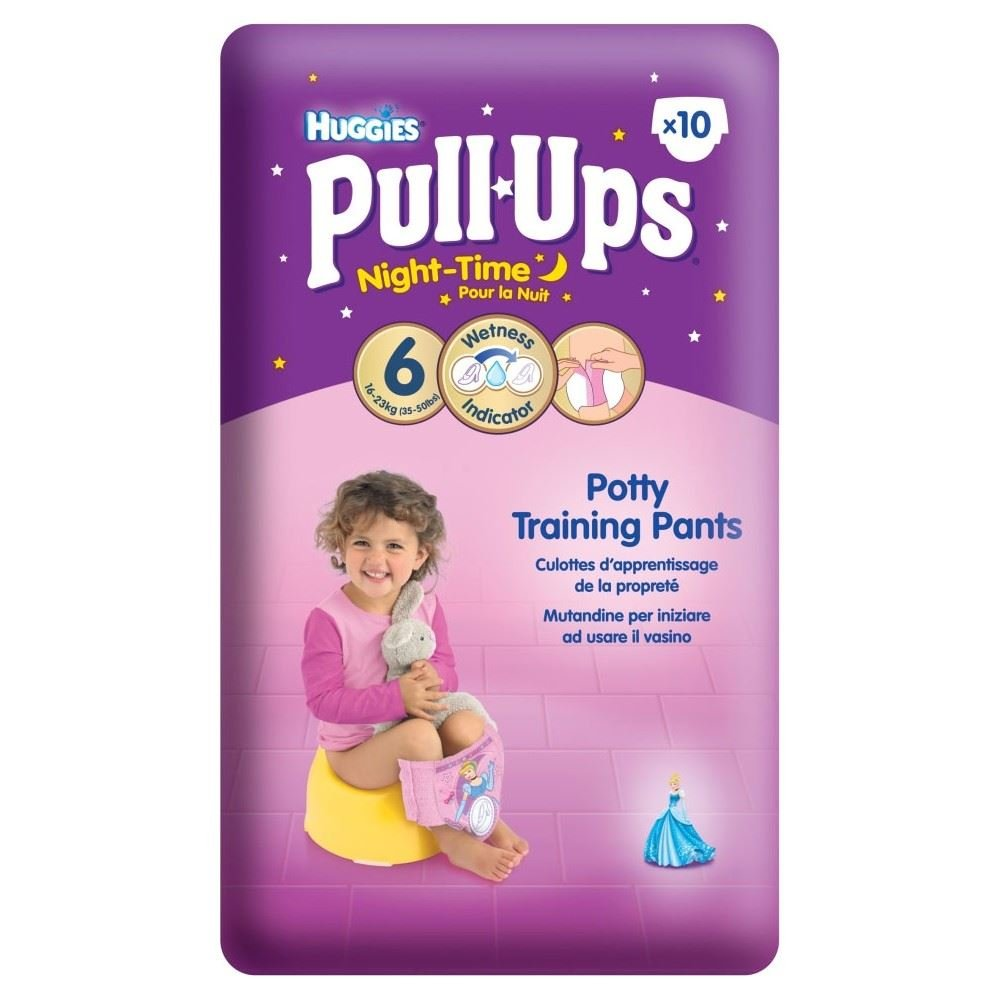 Huggies Pull Ups Night Time Potty Training Pants for Girls Size 6 Large 16-23kg (10) - Pack of 2 Grocery