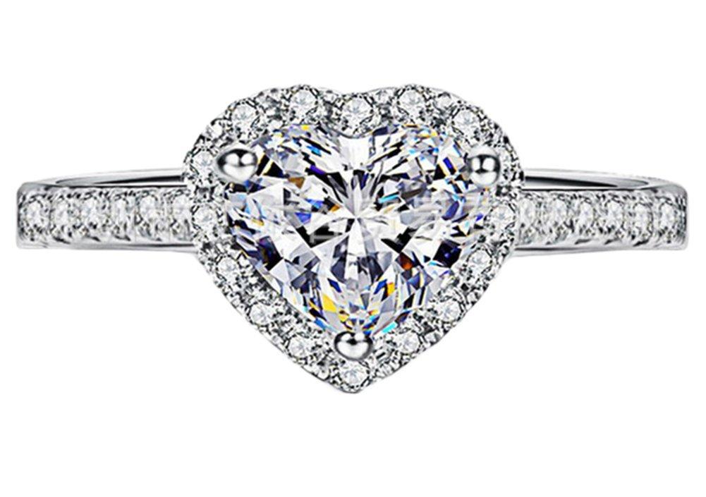 Cosanter Herz Love Ring Silber mit Herz Zirkonia Silberring Verlobungsring Ringe