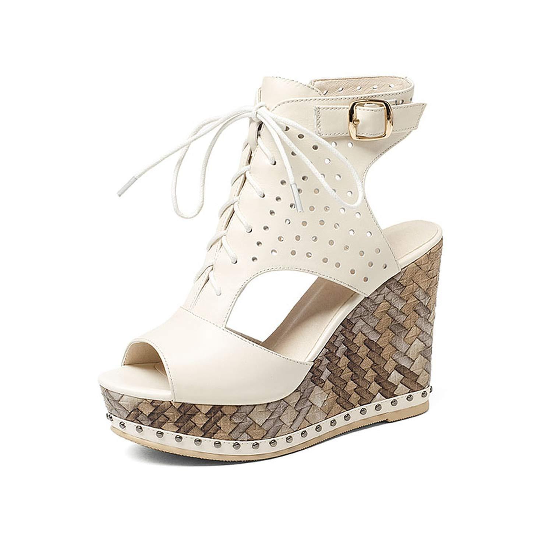 Beige Women Platform Full Grain Leather Sandals Summer Ladies Wedges shoes Slingback Side Zip Peep Toe Lace Buckle