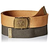 Timberland Men's Web Belt 2 Pack, Olive, One Size