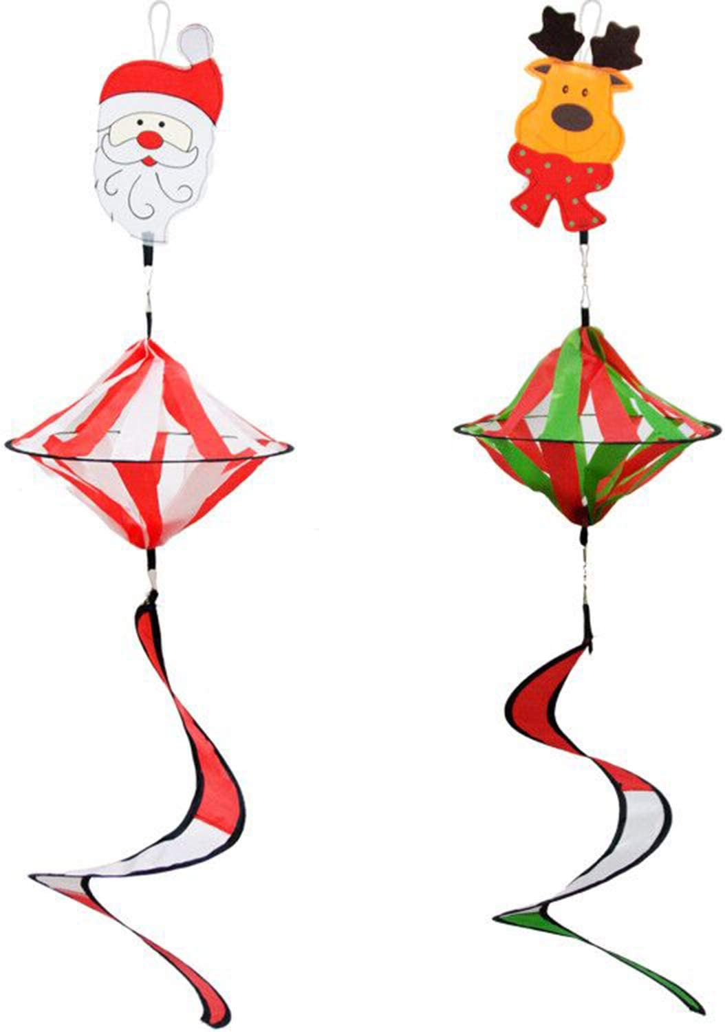 Alpurple 2 PCS 35 Inch Christmas Wind Spinner Twister Decoration -Xmas Hanging Curlie Spinner with Spiral Curlie Tail for Garden,Yard Outdoor Indoor Decoration