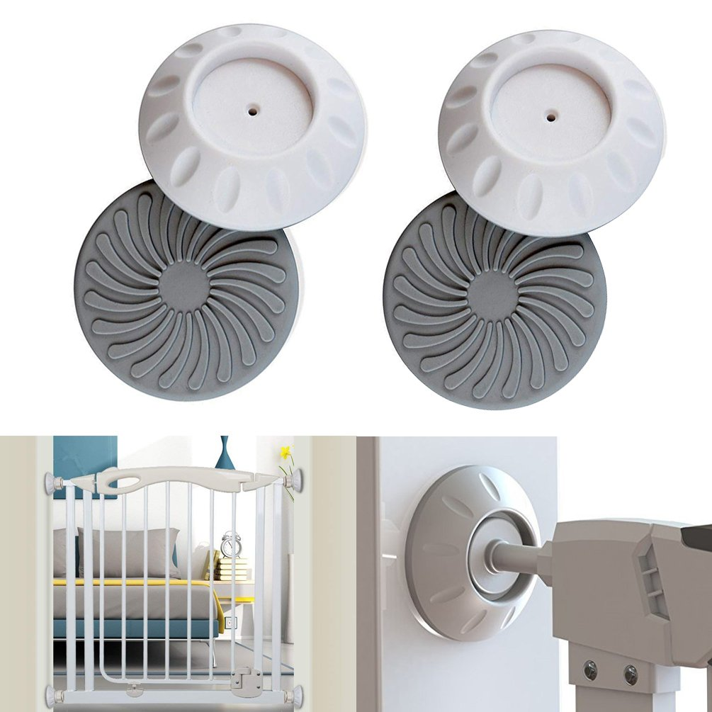 4pcs Baby Safety Wall Guard Protector, Gate Wall Protector Safety Press Mounted Fence Door Stair Wall Surface Protect Guard Pads Saver Cups for Indoor Pet, Child, Walk-Thru Pressure Gates ASUN