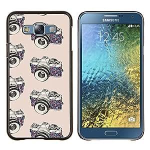 Cámara de fotos fotógrafo Negro Blanco- Metal de aluminio y de plástico duro Caja del teléfono - Negro - Samsung Galaxy E7 / SM-E700