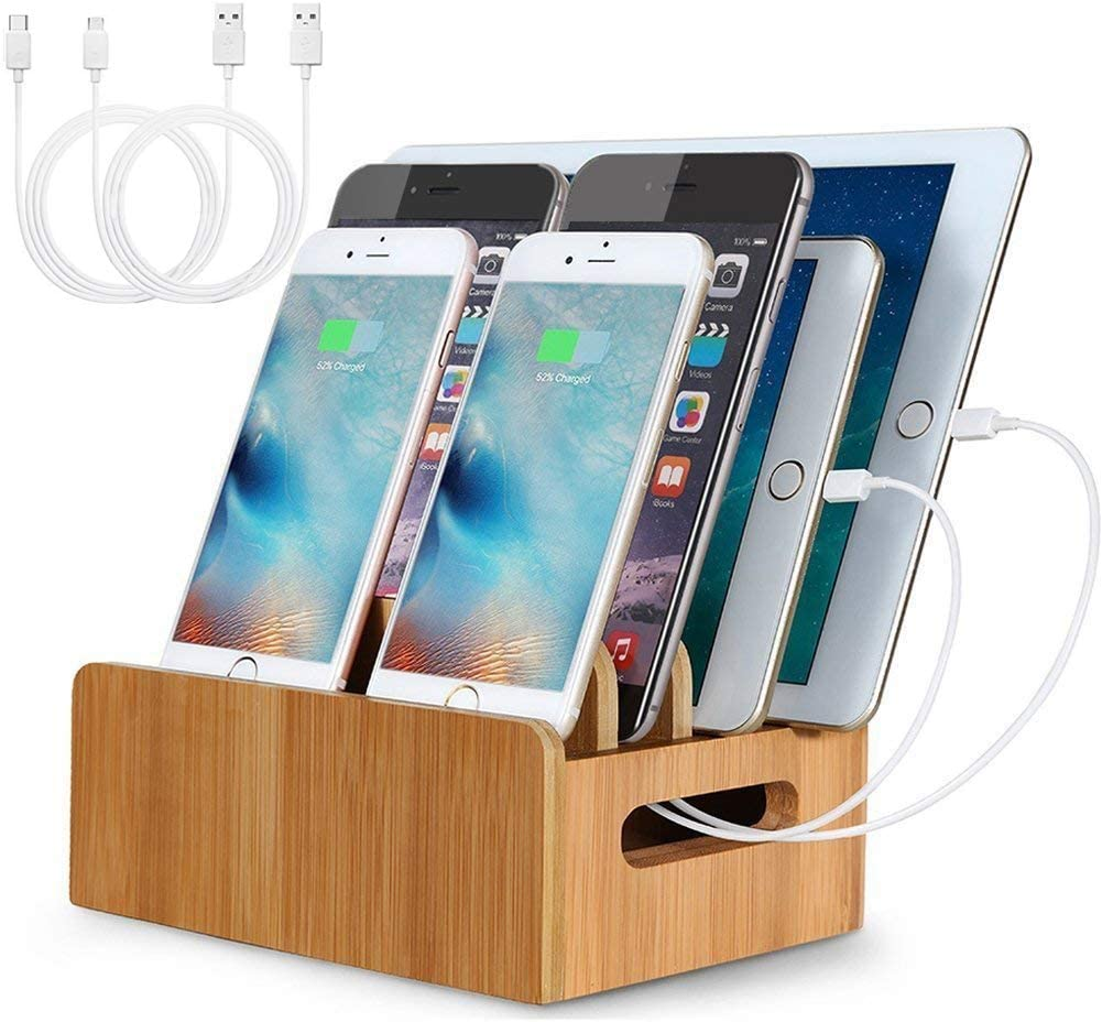 LENPOW Bamboo Charging Stations USB Wooden Charging Dock Stand Multi Devices Cords Cable Organizer for iPhone 11 Pro max XS XR X 8 7 Plus Galaxy S10 S9 Note Pad Tablets Laptops, Eco-Friendly