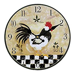 Wall Clock Rustic Shabby Chic Home Kitchen Wooden 30Cm Decor 24 Types 18