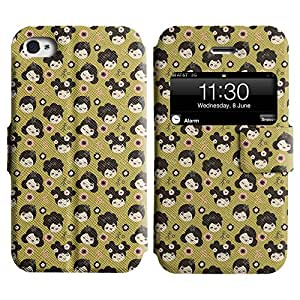 Be-Star Diseño Impreso Colorido Slim Casa Carcasa Funda Case PU Cuero - Stand Function para Apple iPhone 4 / 4S ( Cute Chinky Girl )
