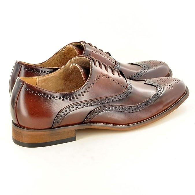 Funda de piel para hombre con forro vestir zapatos de cordones Office detalles perforados s7kAbo0aHN