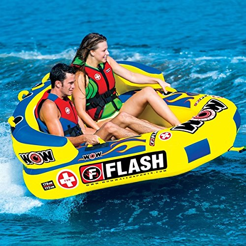 WOW World of Watersports 15-1000 Sports Flash Raft, Inflatable Towable, 1 or 2 Person, Front and Back Tow Points