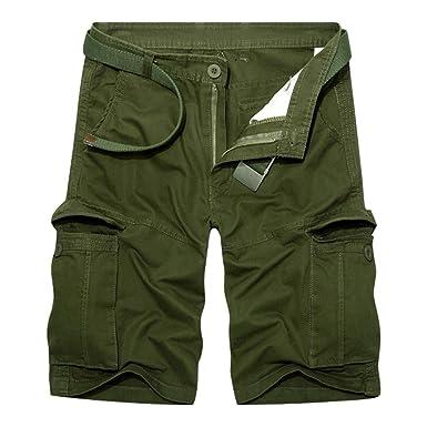657868755bfc60 RMane Herren Cargo Shorts Baumwolle Lose Fit Kurz Hose Sommer Viele Tasche ( Ohne Gürtel)