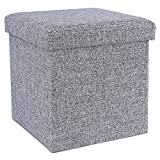 Cheap SONGMICS Cube Shaped Storage Ottoman Foot Rest Stool, Light Grey ULOT10H