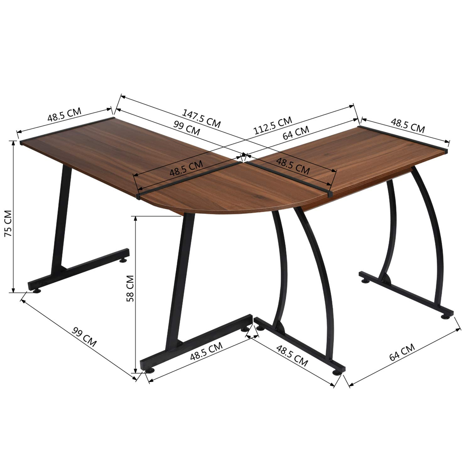 House in box l shaped computer desk modern corner computer workstation for home and office amazon ca home kitchen