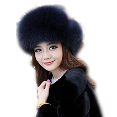 40ddcf786c22cb qmfur Womens Winter Hat Genuine Fox Fur Russian Trapper Ushanka Hats with Pom  Poms (Blue
