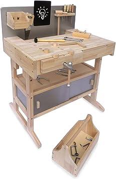 Kinderwerkbank Werkzeugbank Holz Werkstatt Werkbank Kinder Werkzeug Amazon De Spielzeug