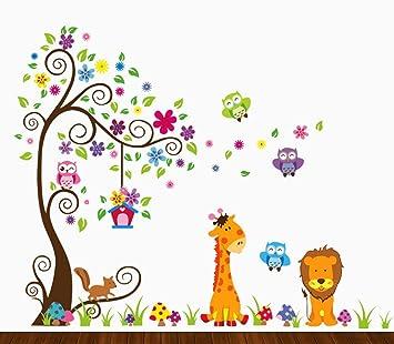Amazon Com Dekosh Kids Jungle Theme Peel And Stick Wall Decal