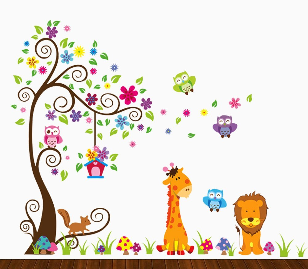 Amazon animal alphabet baby nursery peel andstick wall art dekosh kids jungle theme peel and stick wall decal colorful owl giraffe lion tree decorative amipublicfo Gallery
