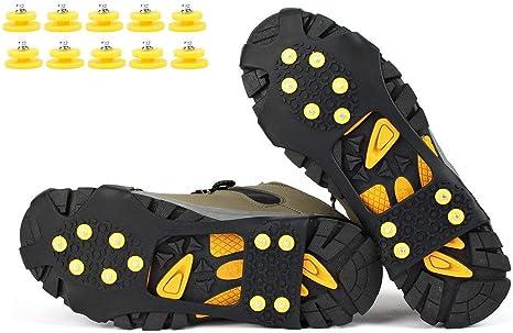 EONPOW Ice Tacchetti Trazione Antiscivolo su Scarpe//Stivali 10 Borchie Neve Ghiaccio Ramponi Tacchetti Spikes