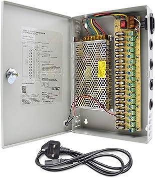 HAILI 18 Canales 12 V 10 A CCTV Caja de Fuente de alimentación 120 W distribuida