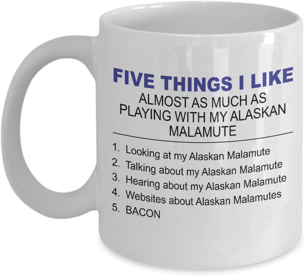 Alaskan Malamute Mug Five Thing I Like About My Alaskan Malamute 11 Oz Ceramic Coffee Mug Kitchen Dining