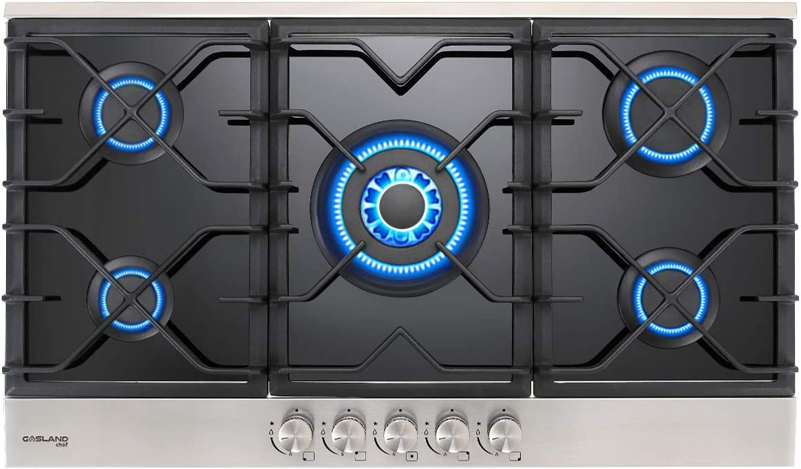 GASLAND Chef Built-in Gas Cooktops, 5 Burner Drop-in Propane/Natural Gas Cooker, Black Tempered Glass Gas Stove Top
