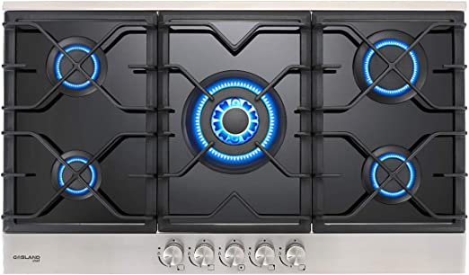 24 Inch Black Tempered Glass Gas Stove Top 4 Burner Drop-in Propane//Natural Gas Cooker GASLAND Chef 24 Built-in Gas Cooktops