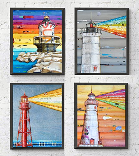 (Lighthouse ART PRINTS Set of 4 by Danny Phillips, UNFRAMED, Mixed media collage wall art decor posters, 8x10 inches )