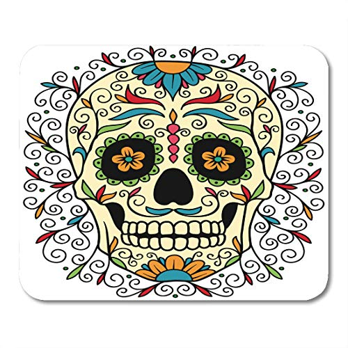 Emvency Mouse Pads Red Pattern Mexican Sugar Skull Yellow Tattoo Halloween Man Carnival Mouse pad 9.5