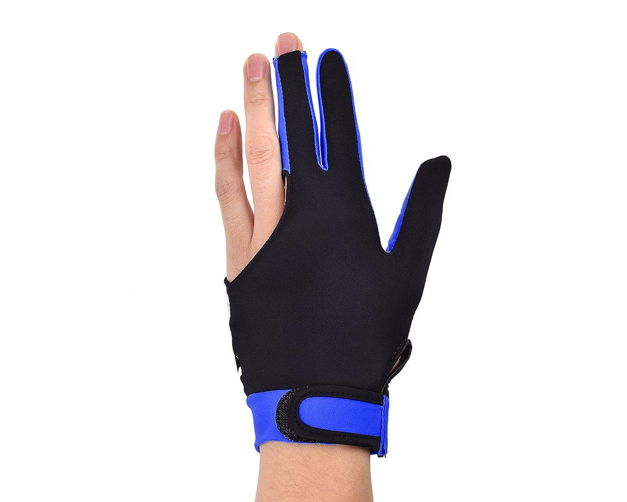 DSstyles 1 pieza de lycra elástica 3 dedos de piscina y billar Snooker guante (talla M) - Azul ds. distinctive style