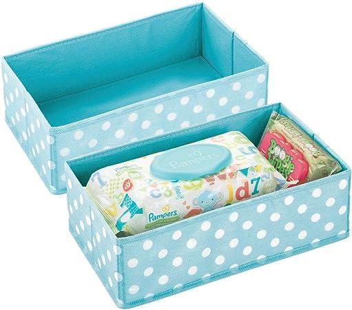 mDesign Juego de 2 Cajas de almacenaje para habitación Infantil o baño – Cesta organizadora Plegable para Ropa de bebé – Organizador de armarios de Fibra sintética Transpirable – Turquesa/Blanco: Amazon.es: Hogar