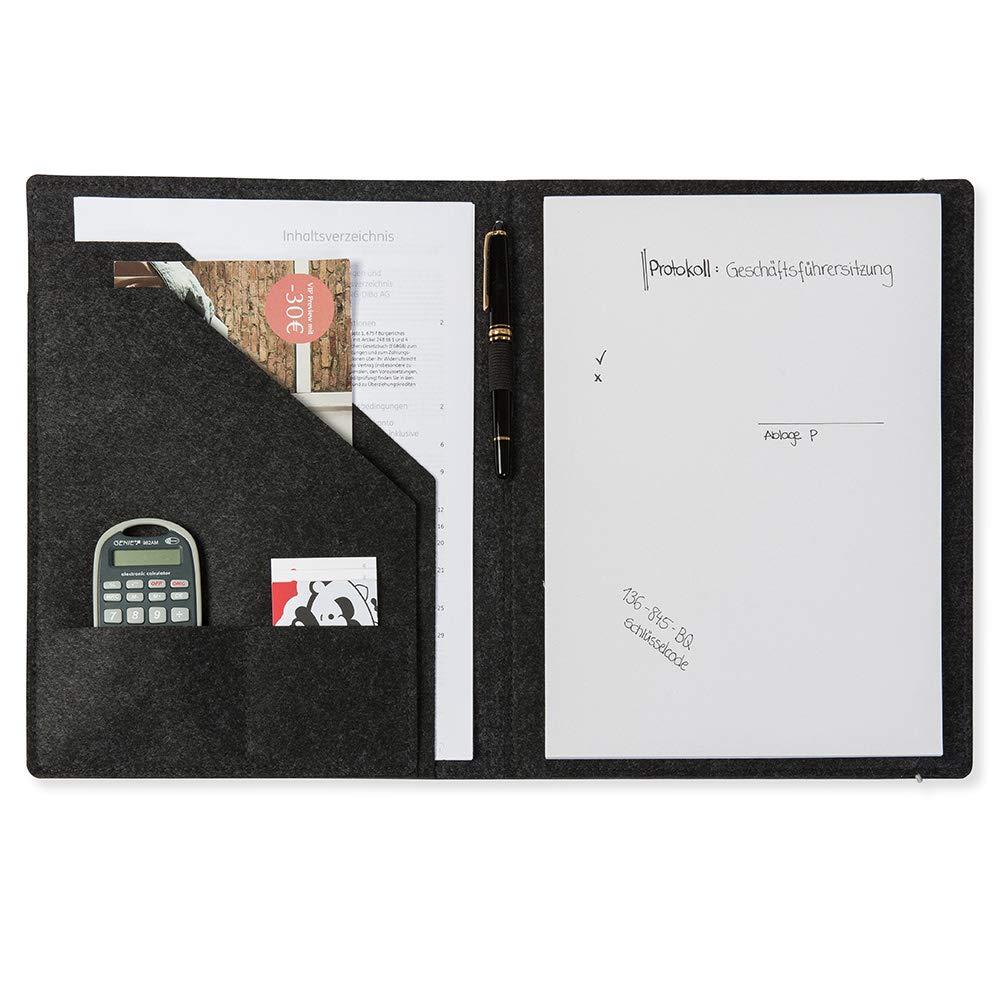 documents Conf/érencier A4 en feutre cartes de visite couleur au choix pour bloc-notes porte-stylos F/üllfederhalter Gris fonc/é feuilles